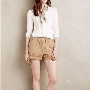 Hei Hei Anthropologie Embroidered Linen Shorts